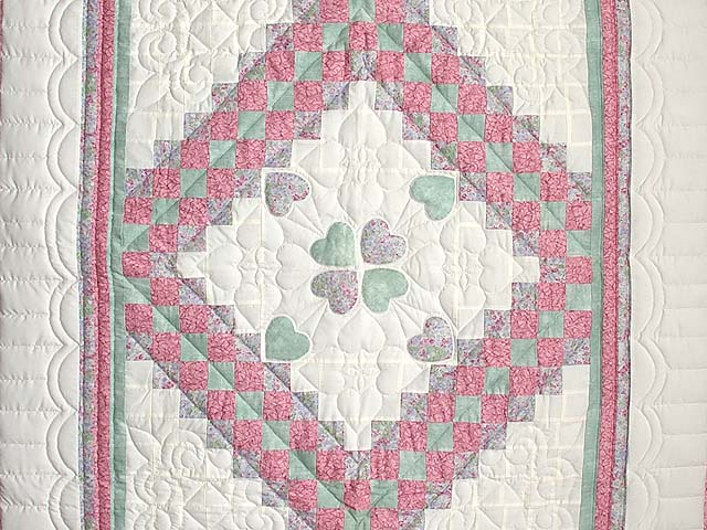 Pink Green and Lavender Hearts Trip Around the World Crib Quilt Photo 2