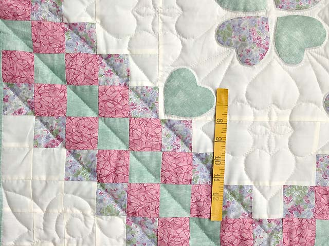 Pink Green and Lavender Hearts Trip Around the World Crib Quilt Photo 3