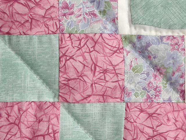Pink Green and Lavender Hearts Trip Around the World Crib Quilt Photo 4