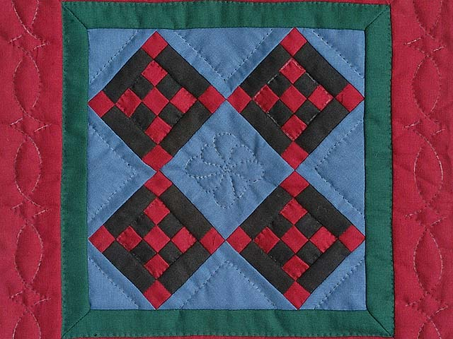 Miniature Amish Nine Patch Diamond Quilt Photo 2