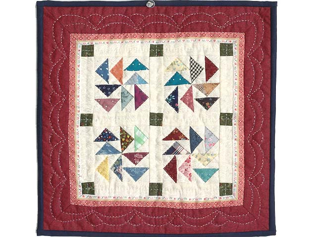 Miniature Red And Multi Dutchman Puzzle Quilt Photo 1