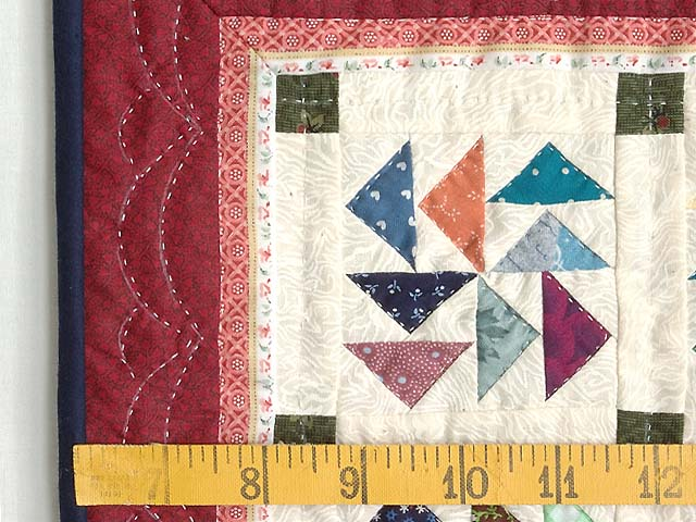 Miniature Red And Multi Dutchman Puzzle Quilt Photo 3