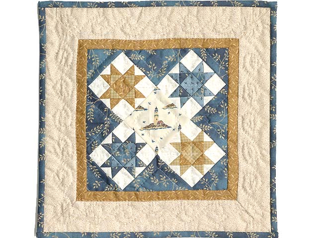 Miniature Blue and Gold Ohio Stars Lighthouse Quilt Photo 1