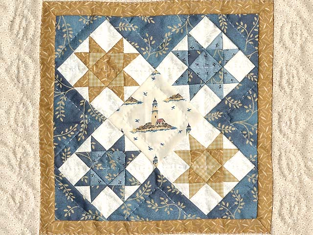 Miniature Blue and Gold Ohio Stars Lighthouse Quilt Photo 2