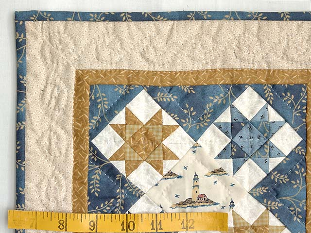 Miniature Blue and Gold Ohio Stars Lighthouse Quilt Photo 3