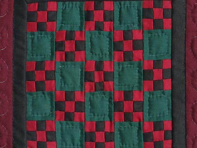 Miniature Amish Nine Patch Quilt Photo 2