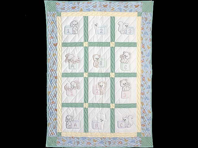Blue Green and Yellow Cross Stitch Crib Quilt Photo 1