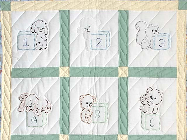 Blue Green and Yellow Cross Stitch Crib Quilt Photo 2