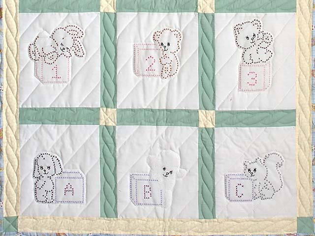 Blue Green and Yellow Cross Stitch Crib Quilt Photo 3