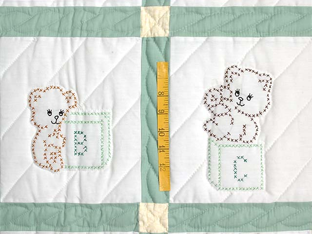 Blue Green and Yellow Cross Stitch Crib Quilt Photo 4