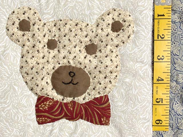 Apple Bear and Cat Applique Crib Quilt Photo 5