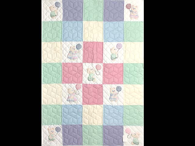 Pastel Pink & Multi Embroidered Bears Crib Quilt Photo 1