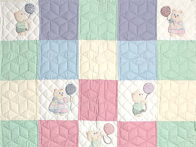 Pastel Pink & Multi Embroidered Bears Crib Quilt Photo 2