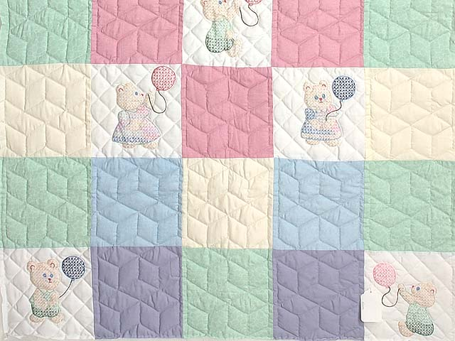 Pastel Pink & Multi Embroidered Bears Crib Quilt Photo 3
