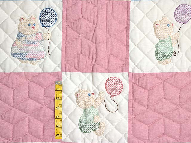 Pastel Pink & Multi Embroidered Bears Crib Quilt Photo 4