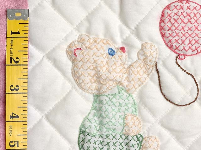 Pastel Pink & Multi Embroidered Bears Crib Quilt Photo 5