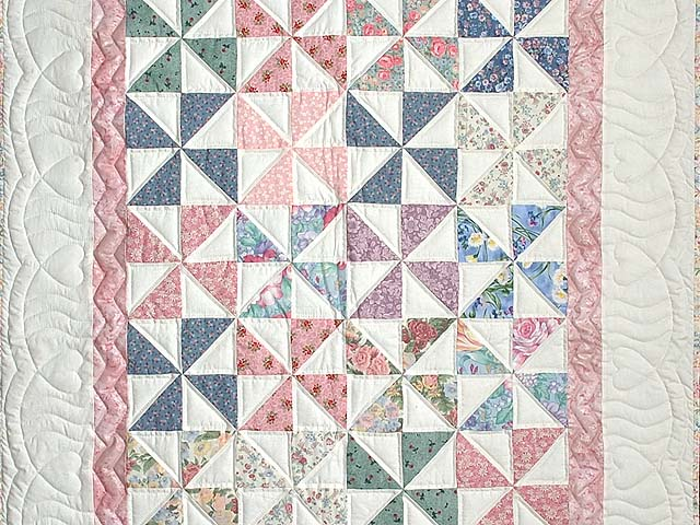 Pastel Pink and Multicolor Pinwheel Crib Quilt Photo 2