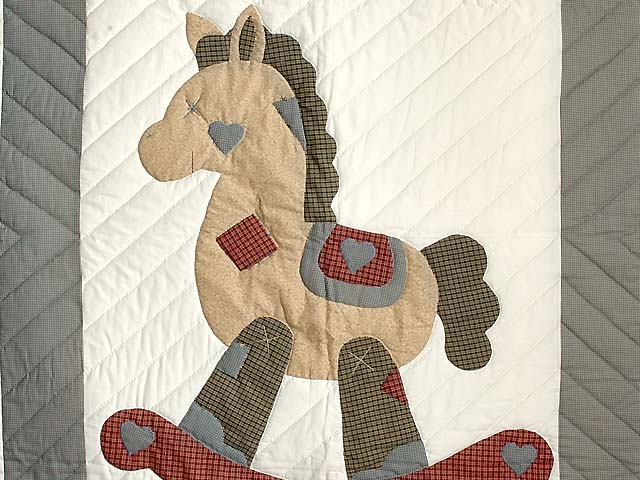 Plaid Rocking Horse Crib Quilt Photo 2
