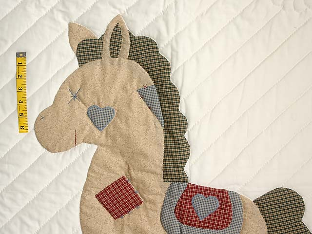 Plaid Rocking Horse Crib Quilt Photo 3