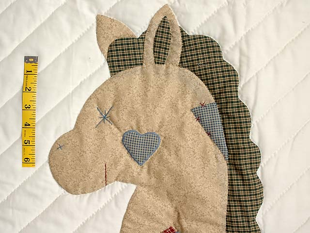 Plaid Rocking Horse Crib Quilt Photo 4