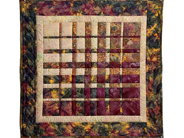 Hand Painted Plum and Tan Convergence Wall Hanging Photo 1