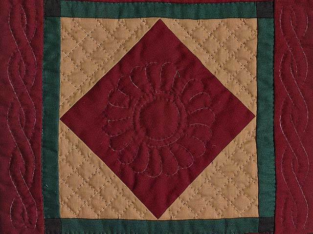Amish Center Diamond Miniature Quilt Photo 2