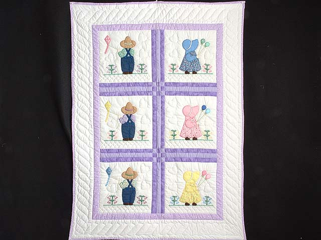 Lavender Sunbonnet Sue & Bill Crib Quilt Photo 1