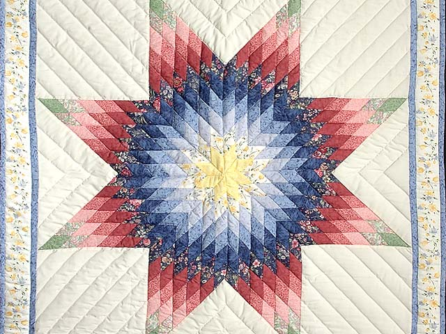 Rose and Multicolor Lone Star Crib Quilt Photo 2