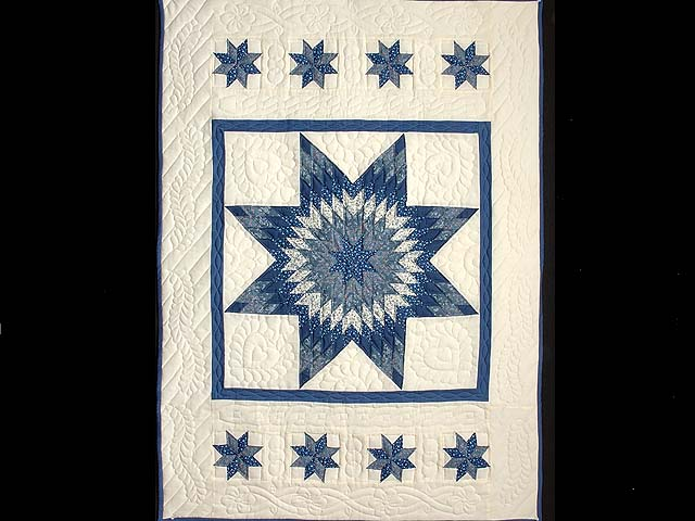 Blue and Cream Lone Star Crib Quilt Photo 1