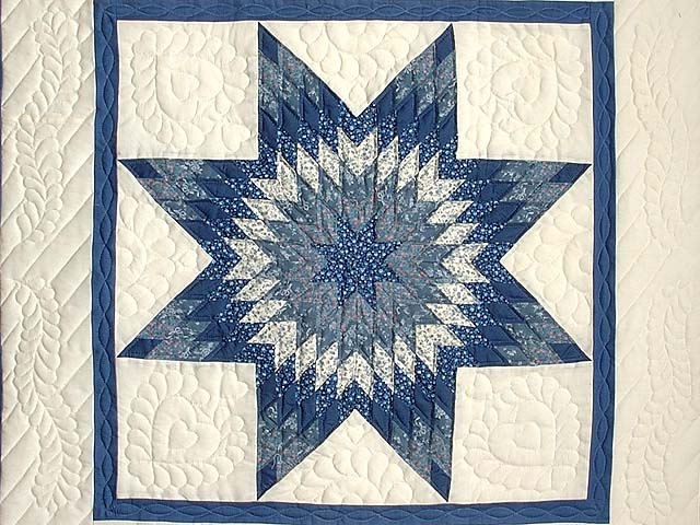 Blue and Cream Lone Star Crib Quilt Photo 2