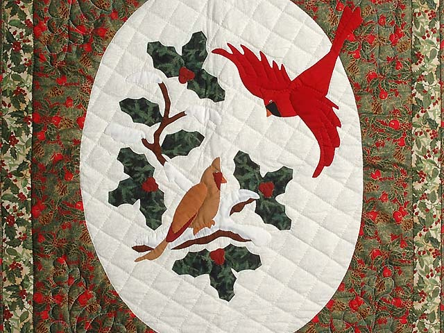 Gold and Green Christmas Cardinals Applique Wall Hanging Photo 2
