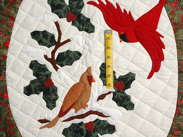 Gold and Green Christmas Cardinals Applique Wall Hanging Photo 3