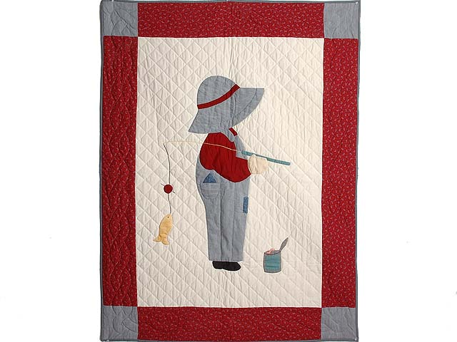 Red and Gray Fisher Boy Applique Crib Quilt Photo 1