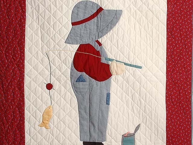 Red And Gray Fisher Boy Applique Crib Quilt Photo 2