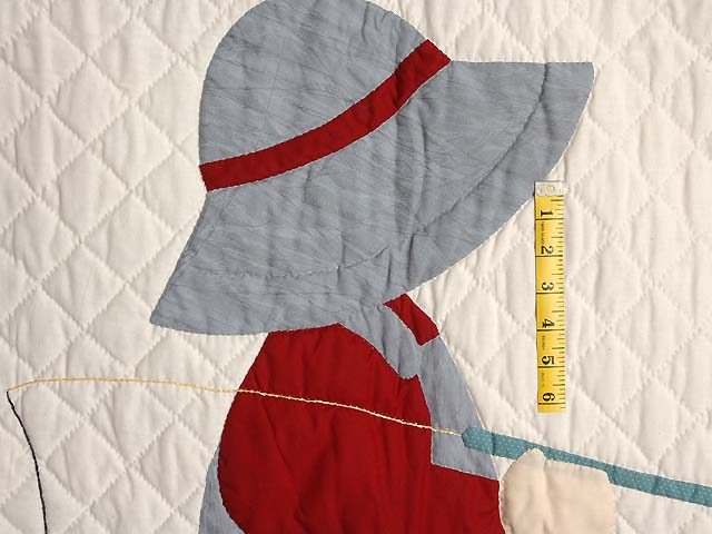 Red and Gray Fisher Boy Applique Crib Quilt Photo 3