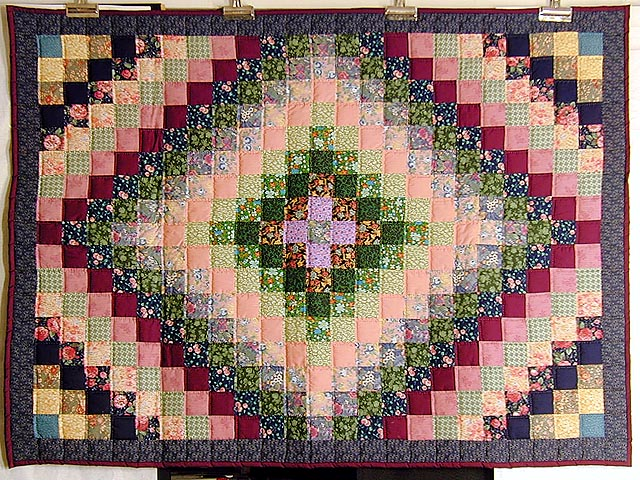 Green and Multi Hit or Miss Crib Quilt Photo 1