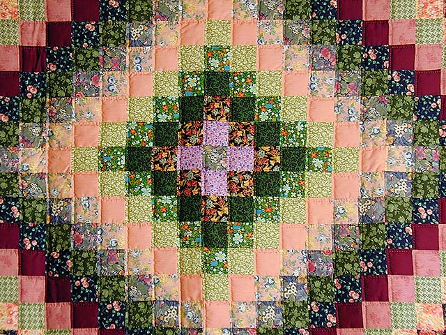 Green and Multi Hit or Miss Crib Quilt Photo 2
