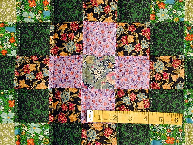 Green and Multi Hit or Miss Crib Quilt Photo 3