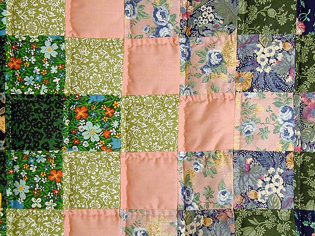 Green and Multi Hit or Miss Crib Quilt Photo 4