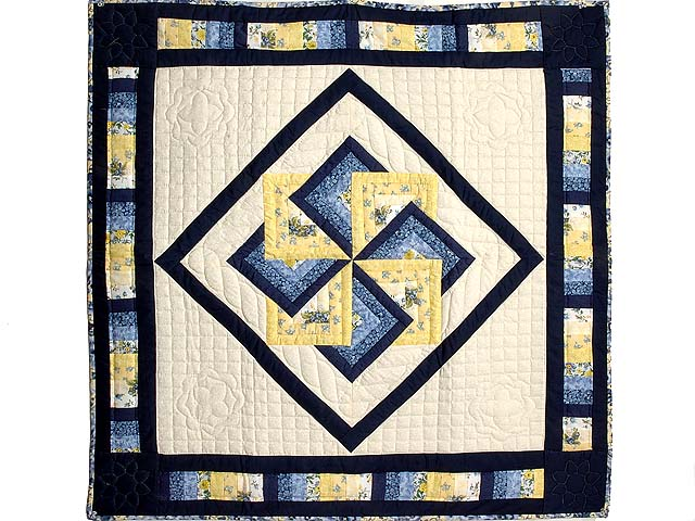 Navy Blue and Yellow Star Spin Wall Hanging Photo 1