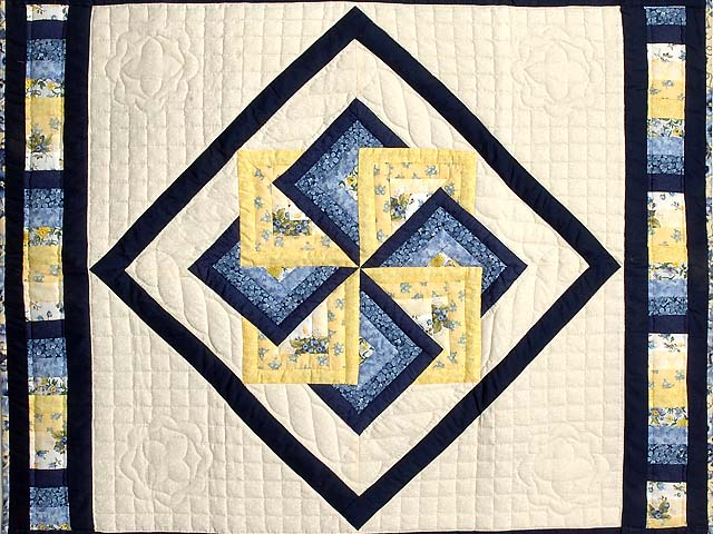 Navy Blue and Yellow Star Spin Wall Hanging Photo 2