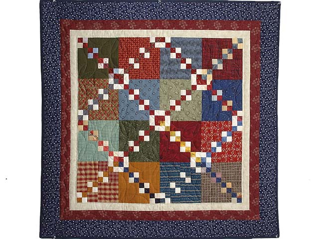 Blue Burgundy and Multicolor Falling Blocks Wall Hanging Photo 1