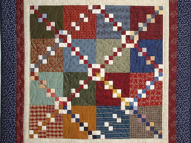 Blue Burgundy and Multicolor Falling Blocks Wall Hanging Photo 2