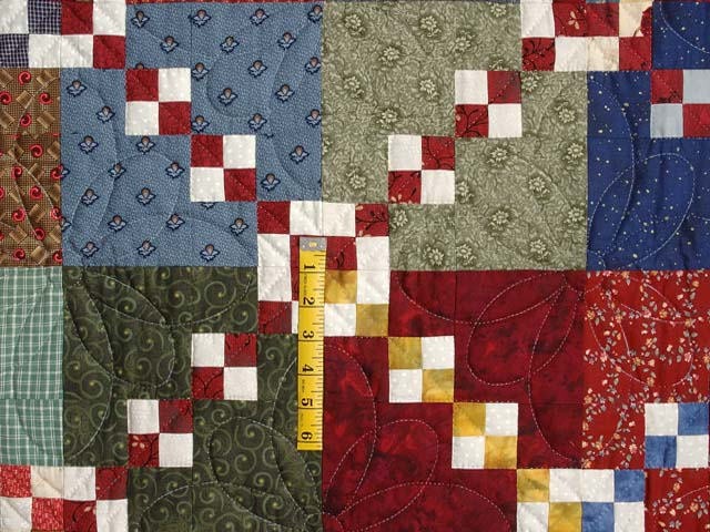 Blue Burgundy and Multicolor Falling Blocks Wall Hanging Photo 3