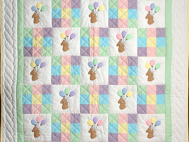 Teddy and Nine Patch Crib Quilt Photo 2