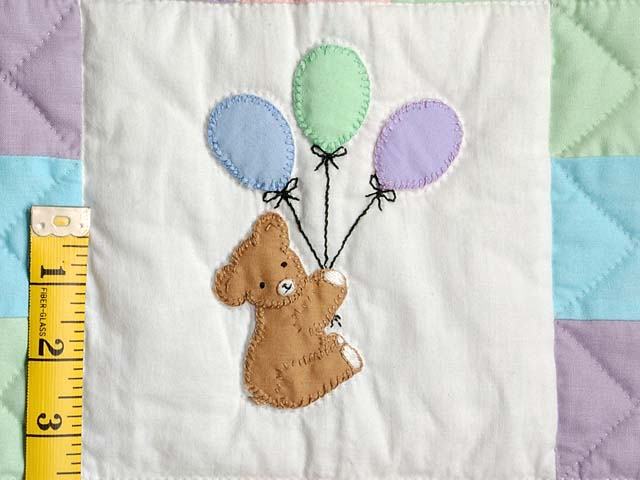 Teddy and Nine Patch Crib Quilt Photo 4