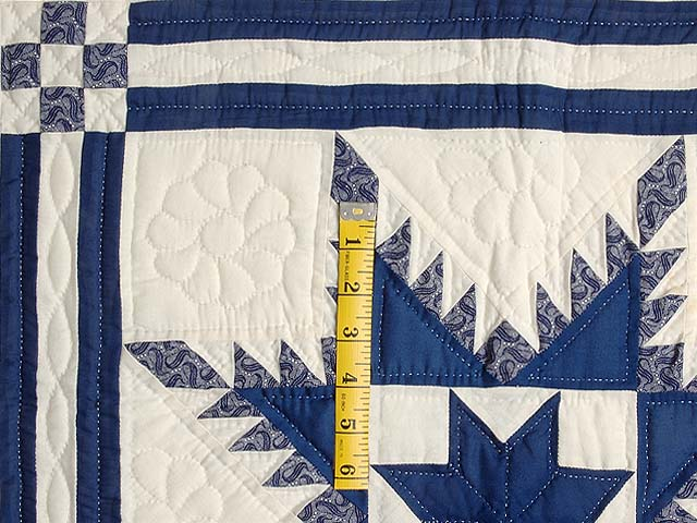 Navy and Cream Feathered Edge Star Crib Quilt Photo 3