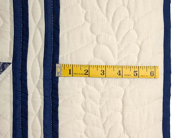 Navy and Cream Feathered Edge Star Crib Quilt Photo 5