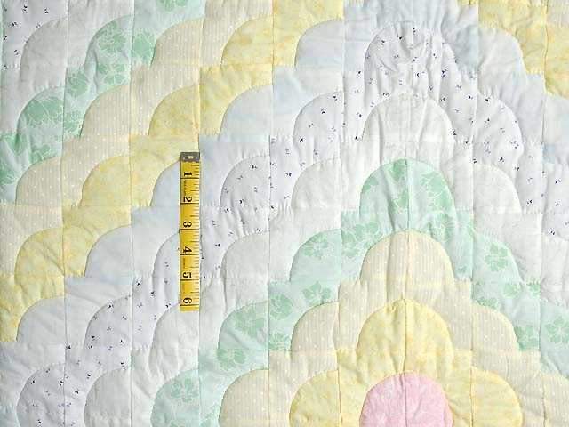 Yellow Green Pastel Ocean Wave Crib Quilt Photo 3