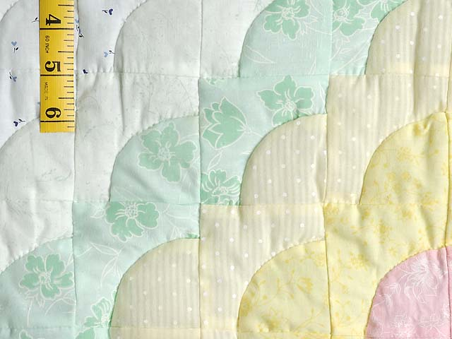 Yellow Green Pastel Ocean Wave Crib Quilt Photo 4